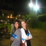 Jana and I posing with our water, courtesy of Nobile Contrada del Nicchio