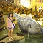 fuzzy pic of me at la Fontana della Barcaccia, below the steps